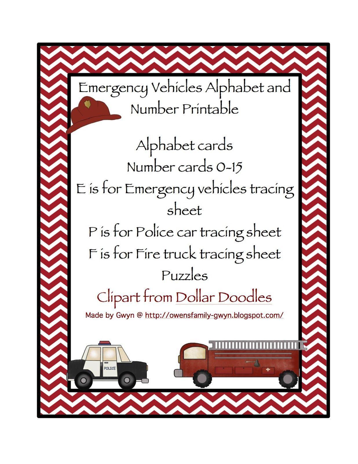 Emergency Vehicles Alphabet Amp Number Cards
