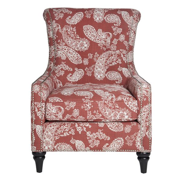 angelo:HOME Lana Vintage Washed Cranberry Red Paisley Arm Chair ...