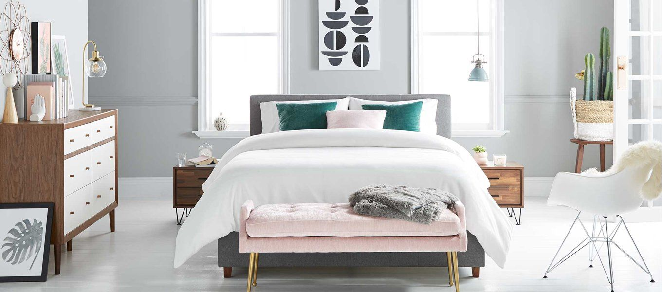 Shop by Style- mid-century - Walmart.com   Upholstered bed frame