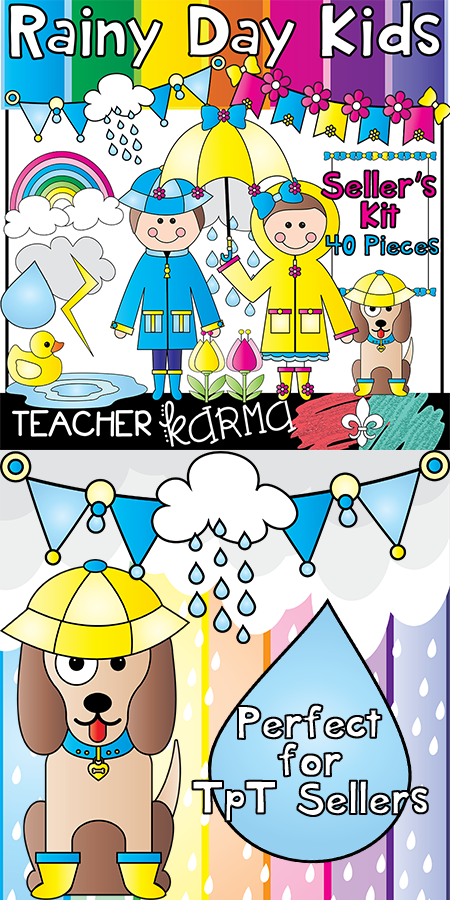 Rainy Day Kids Clipart / Seller's Kit. Perfect for ...