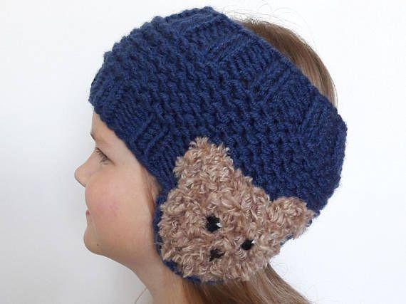 Punto de venda, Ear Warmer, cabeza abrigo, accesorios niñas, Teddy Bear, traje de invierno, tener apliques, venda azul, azul marino, moda niños