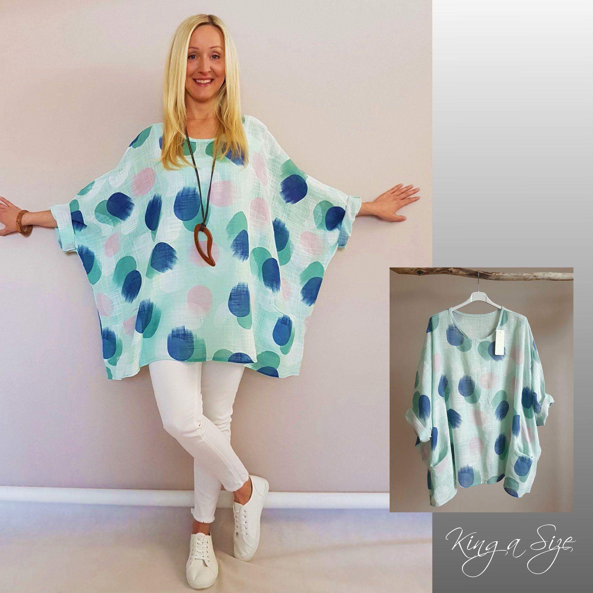 Damen Lagenlook Oversize Bluse Tunika Überwurf 44 46 48 50  Neu Kette
