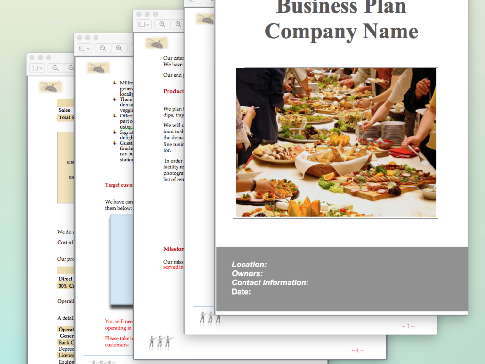Catering Business Plan Template  Business Plans