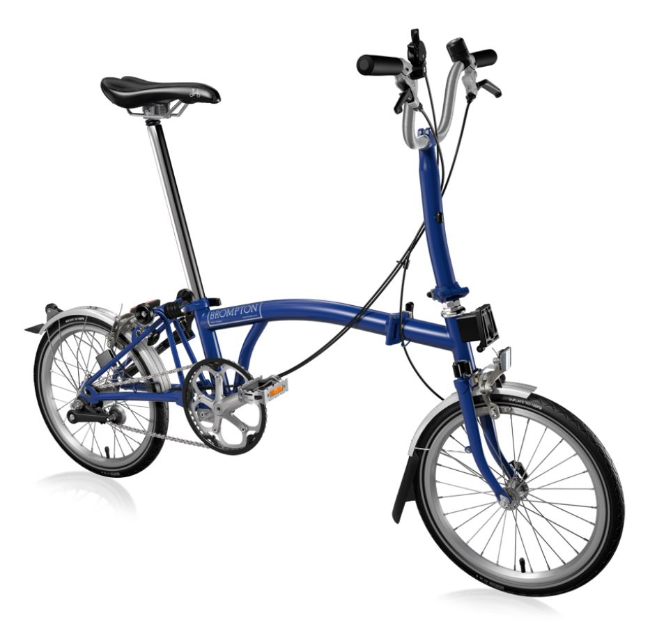 Brompton Folding Bike Hand Made From The Uk Cobalt Blue Semi Matte Finish With M Type Handle Bar And 3 Speeds And Fenders Shown Brompton Available At Www Urb