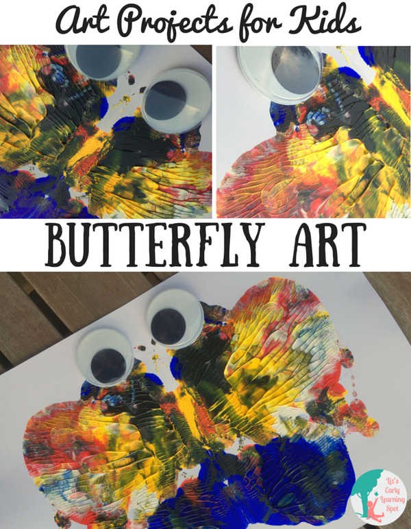 Art Projects for Kids Butterfly Art is part of Kids Crafts Butterfly Learning - This butterfly art is quick and easy, always looks terrific and the googly eyes bring kids' creations to life  Pop over for more art projects for kids!