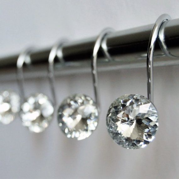 Attractive ON SALE Decorative Shower Curtain Hooks Rings   Clear Highest Quality Glass  Crystal Rhinestones Bath Set Women Girl Gift