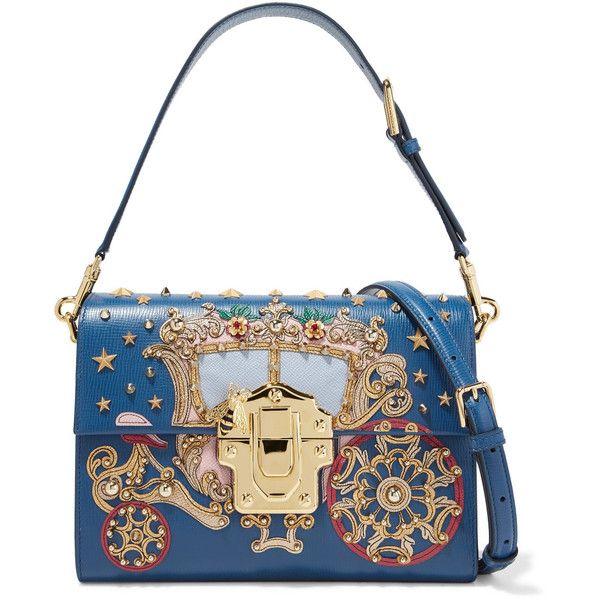 d17fa701f586 DOLCE   GABBANA Lucia embellished appliquéd lizard-effect leather shoulder  bag.