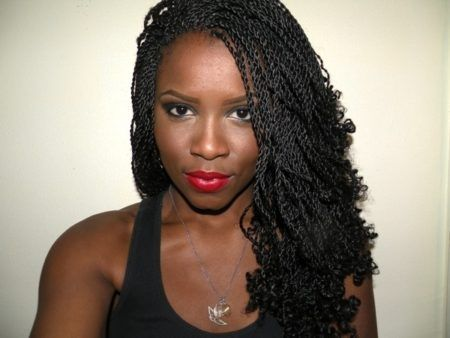 Elegant Senegalese Twists With Curly Ends Intended For Hair