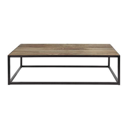 table basse en m tal et bois l 130 cm salon in 2018 pinterest wood coffee tables tables. Black Bedroom Furniture Sets. Home Design Ideas
