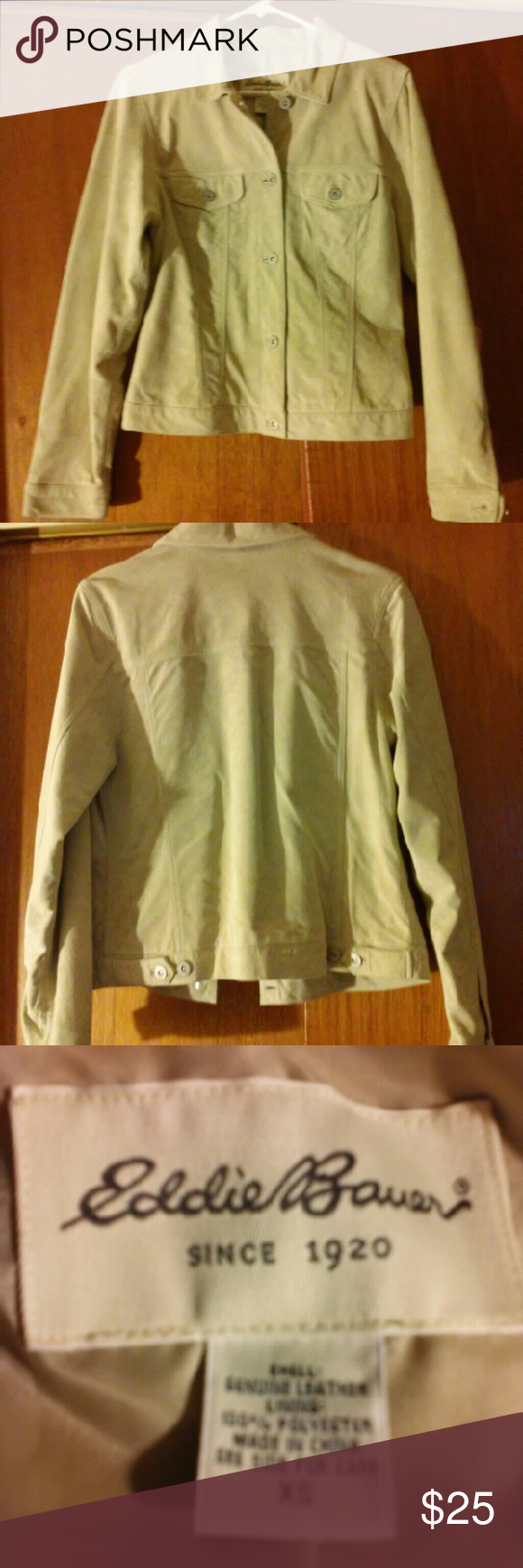 EDDIE BAUER SUEDE Tan in color. Very good condition. Pic 4 is the lining. Eddie Bauer Jackets & Coats