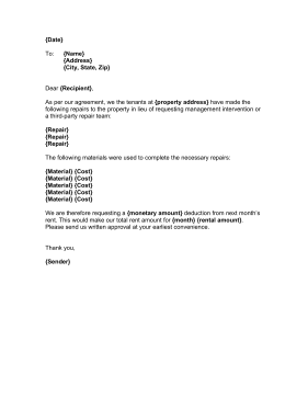 sample letter to tenant for repairs