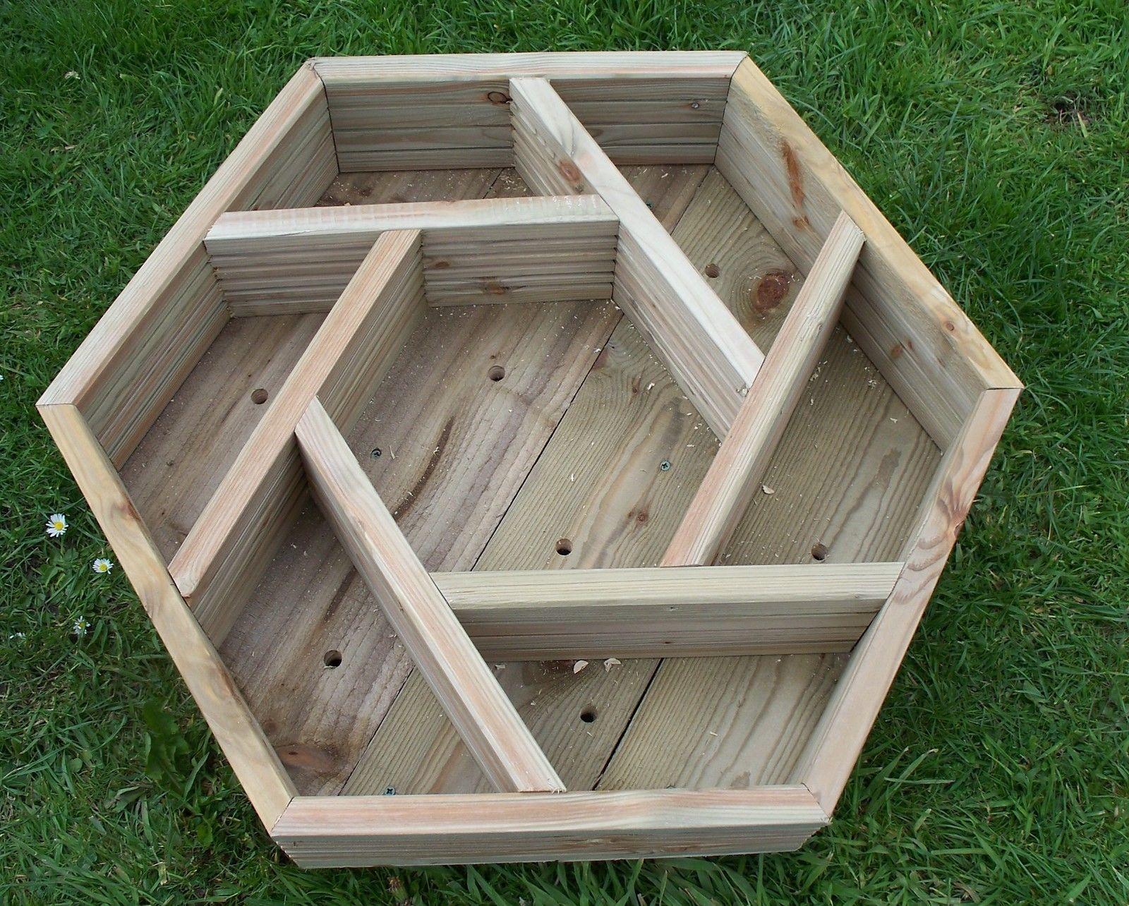Wooden Herb Wheel Planter Wood Trough Timber Hexagonal Planter