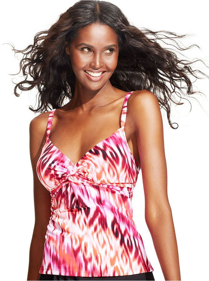1ad02d55129 Miraclesuit Roswell Ikat-Print DD-Cup Tankini Top on shopstyle.com ...