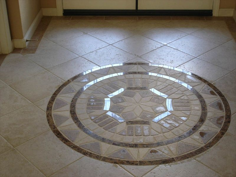 Diagonal Porcelain Floor Tile With Medallion And Bordered