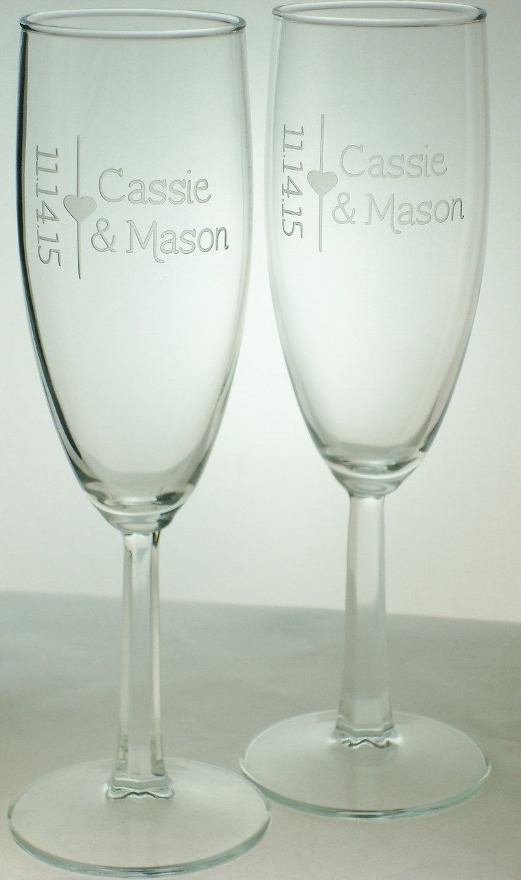 Pair of Toasting Flutes Personalized with Names and Date | Bride and ...