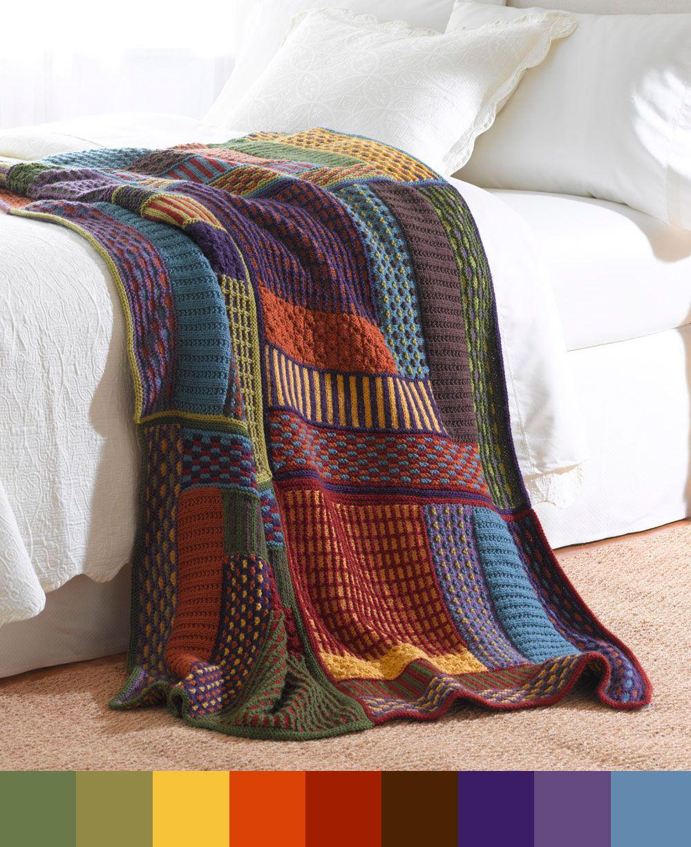 slip stitch sampler throw with color palette deko ideen n tzliches pinterest stricken. Black Bedroom Furniture Sets. Home Design Ideas
