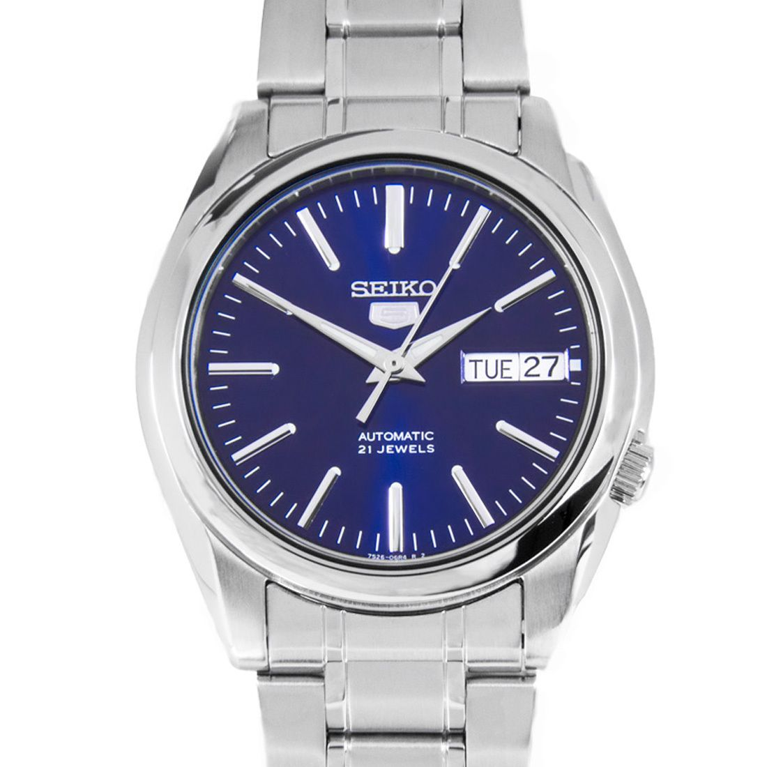 Seiko 5 Automatic Blue Dial WR30m Stainless Steel Mens