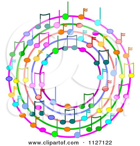 cartoon of a ring or wreath of colorful music notes royalty free rh pinterest com Music Note Clip Art Vector Colorful Music Notes