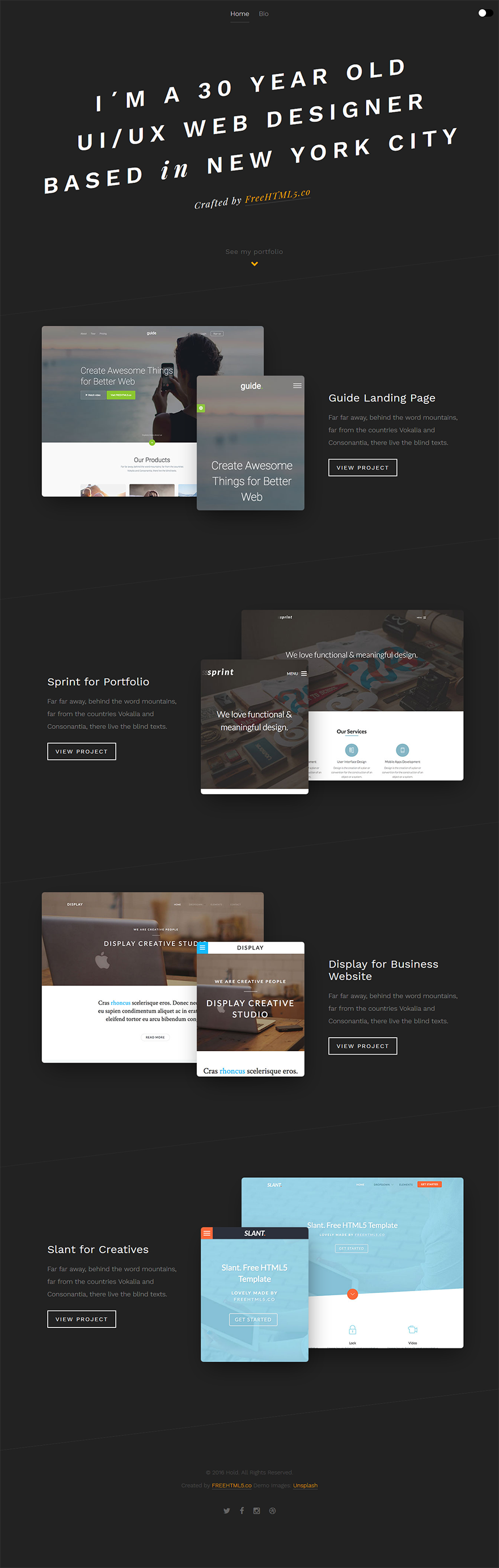 Free One Page Website HTML Template - Hold - GraphicArmy | One page ...