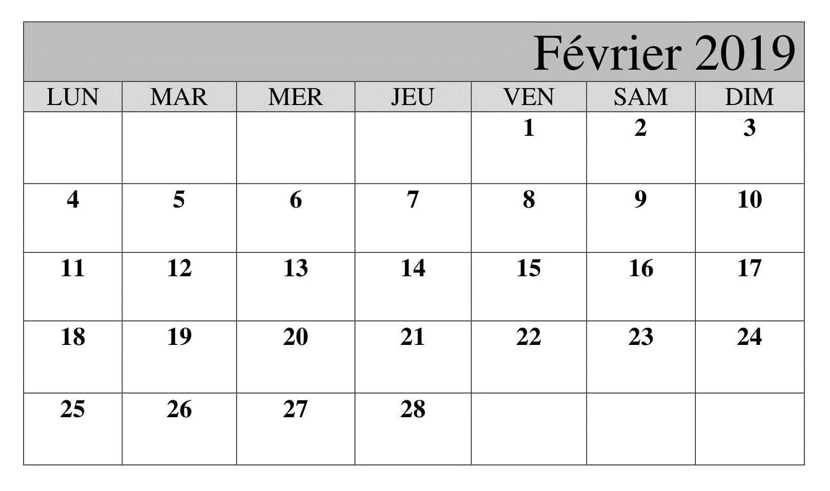 Calendrier Fevrier With Images