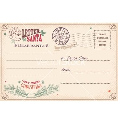 Vintage Letter To Santa Claus Postcard Vector By DesignerArtist