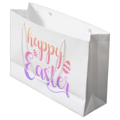 Happy easter multi colored easter egg typography large gift bag happy easter multi colored easter egg typography large gift bag negle Choice Image