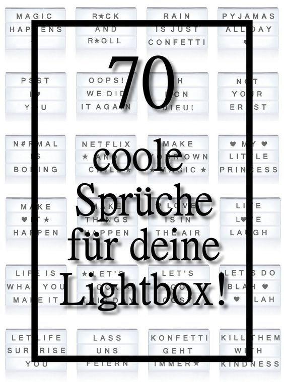 70 coole spr chen f r deine lichtbox quotes lightbox lichttafel spr che pinterest licht. Black Bedroom Furniture Sets. Home Design Ideas