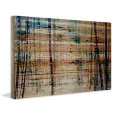 'Splash Of Blue Sky' by Parvez Taj Painting Print on Natural Pine Wood