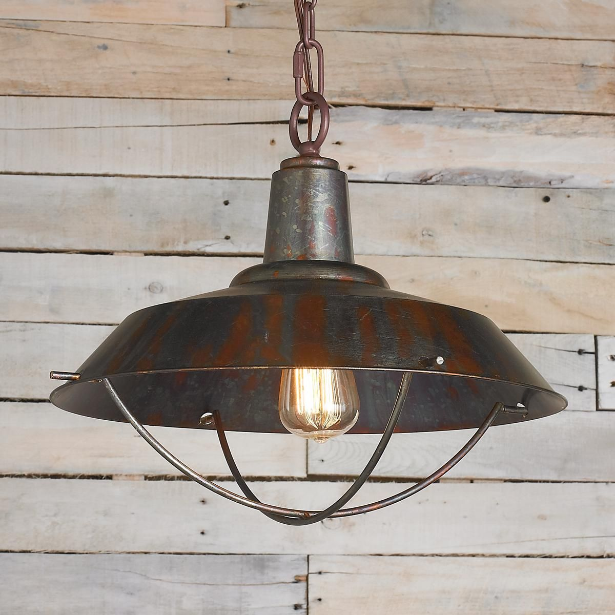Rustic Copper Pendant With Grill