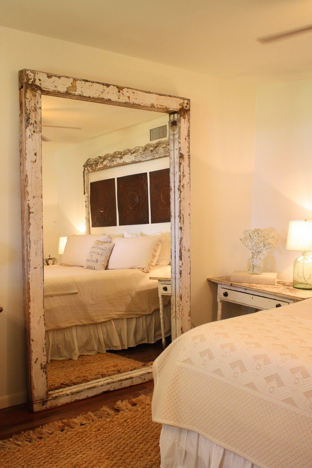 Beautiful Elegant But On The Tiny Bit Of A Rustic Edge To The Gorgeous Antique Style Bi Farmhouse Bedroom Decor Rustic Bedroom Design Farmhouse Master Bedroom