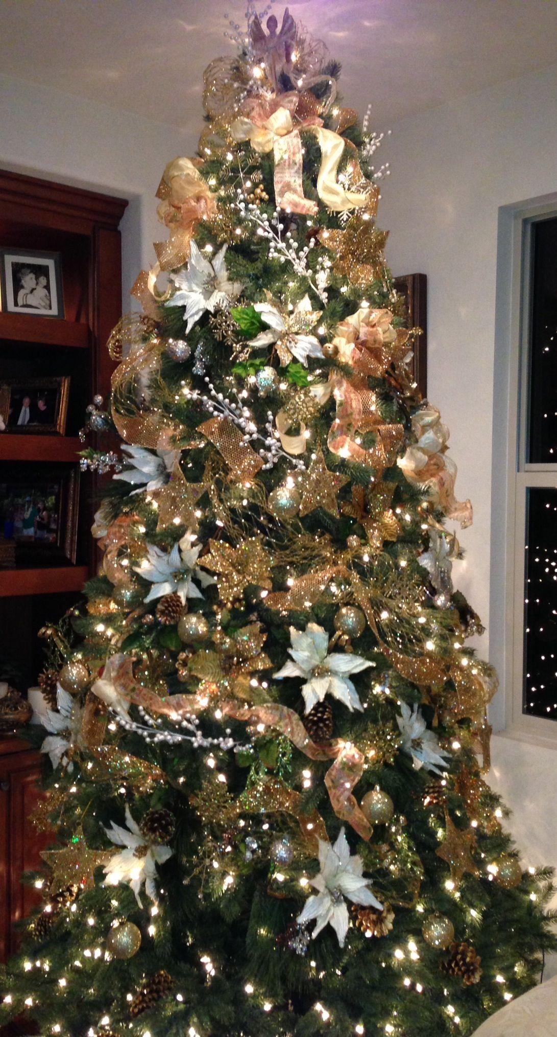Gold And Ivory Christmas Tree Christmas Tree Crafts Christmas Tree Inspiration Silver Christmas Tree