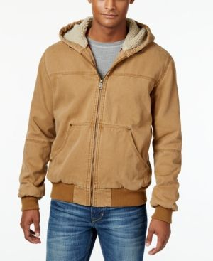 G.h. Bass & Co. Men's Hooded Faux-Sherpa Jacket - Brown XL