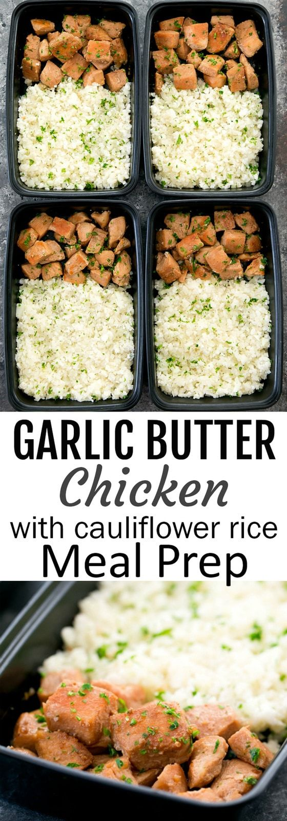 Honey Garlic Butter Chicken with Cauliflower Rice Meal Prep #mealprepplans