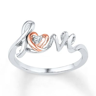 "This beautiful ring for her features the word ""love"" with a heart in 10K rose gold. Set with a sparkling diamond accent, the ring is crafted in lustrous sterling silver and 10K rose gold."