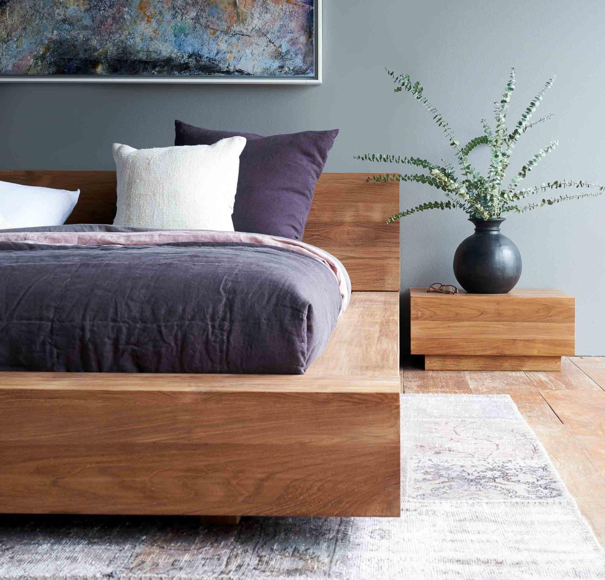 Teak Bed Frame | Madra Bed Australia Size in 2020 | Bed furniture design,  Low bed frame, Modern bed frame