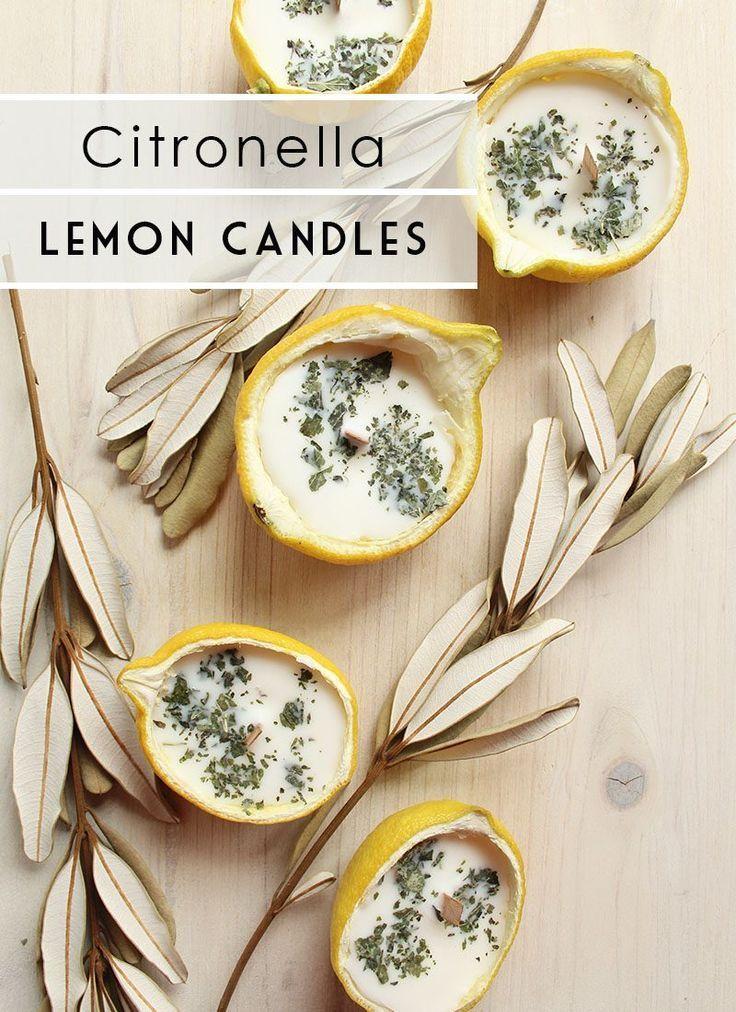 DIY Citronella Lemon Bowl Insect Repellent Candles
