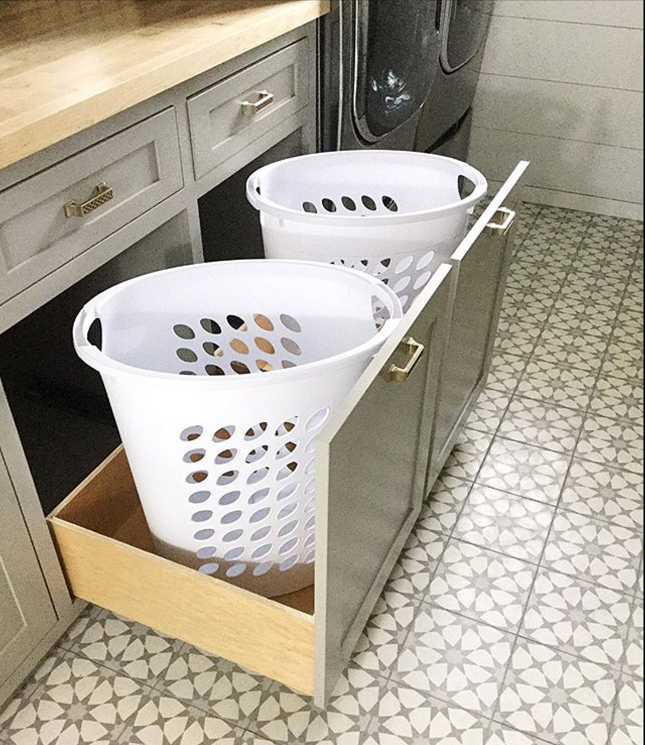 Laundry Room Laundry Room Storage Hampers Cement Tile