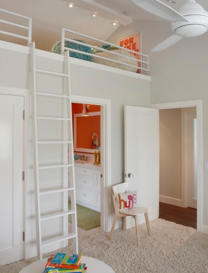 Fascinating Kids Loft Beds Preserving More Space In Small Bedroom:  Astounding Kids Loft Bed In Eclectic Kids Bedroom With Grey Colored Rug C.
