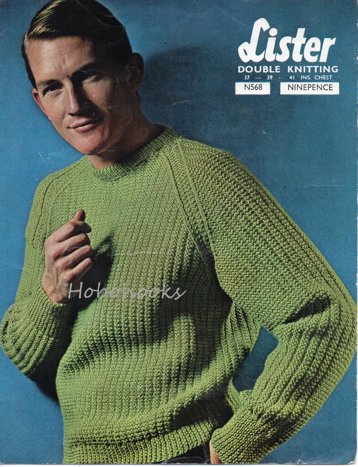 05f5ec5aa M6007 Mens ribbed sweater knitting pattern fishermans rib sweater ribbed  jumper crew neck 37-41 inch DK mens Knitting Pattern PDF instant download  PLEASE ...