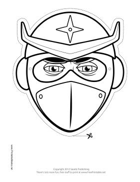 Printable Helmeted Ninja Mask To Color Mask Ninja Mask Coloring Mask Ninja Star