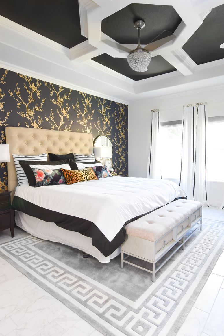 A Jaw Dropping Master Bedroom Makeover With A Black White And Gold Color Palette Love How Master Bedroom Accents Luxury Bedroom Master Unique Master Bedroom
