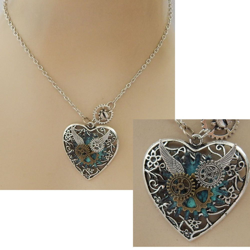 Silver steampunk heart pendant necklace handmade new cosplay ebay aloadofball Image collections