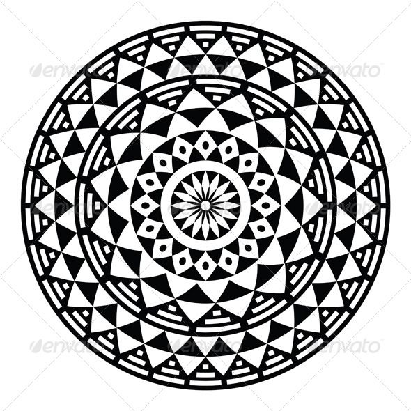 Circle Design Art : Tribal aztec geometric pattern or print in circle