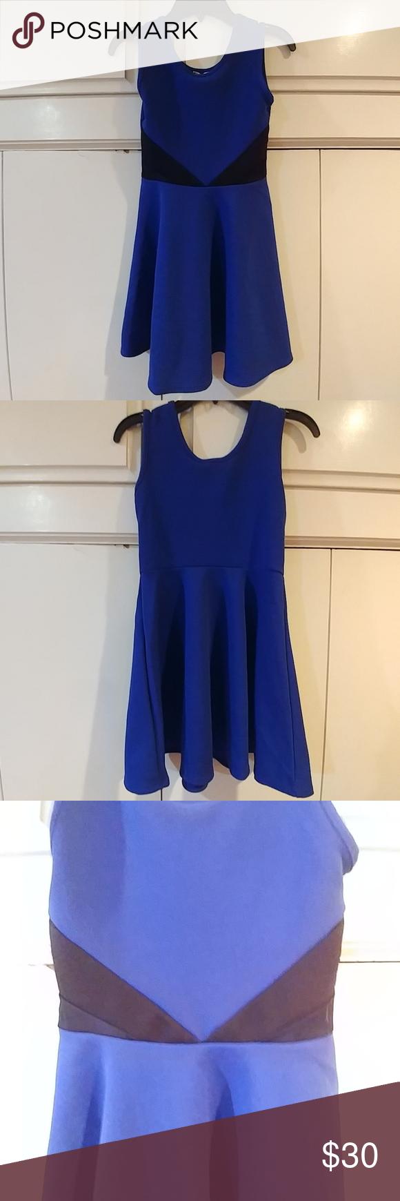 Sally Miller Saffire Blue & Black Dress Saffire Blue dress, with black accents at the waist. Pullover style. NWT Sally Miller Dresses Casual #sallymiller