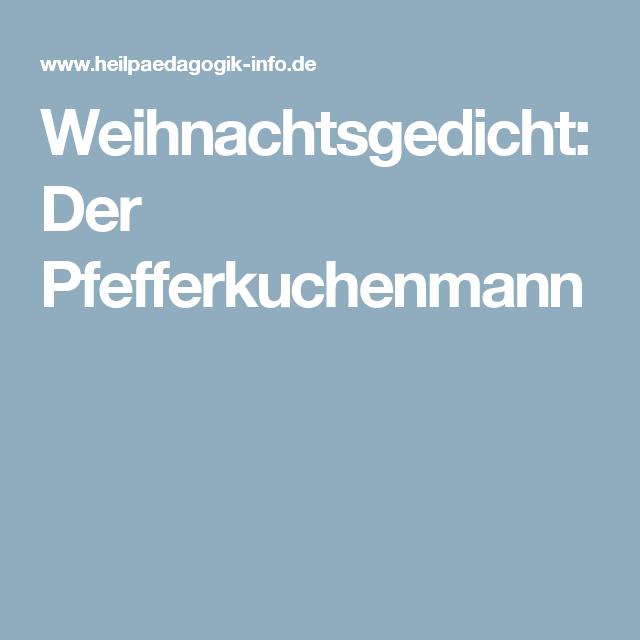 Weihnachtsgedicht Der Pfefferkuchenmann Gedichte