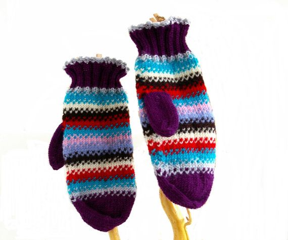 Colorful hand knitted women mitens. by FlySheep on Etsy
