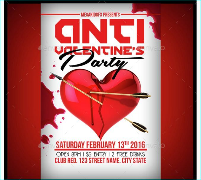 Anti Valentines Party Flyer Template Party Flyer Templates For