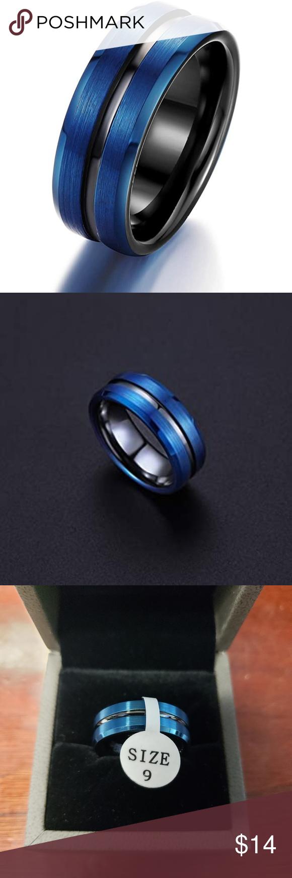 ⏬2/10 Men's Tungsten Carbide Ring 8mm Dark Blue 9 NWT in