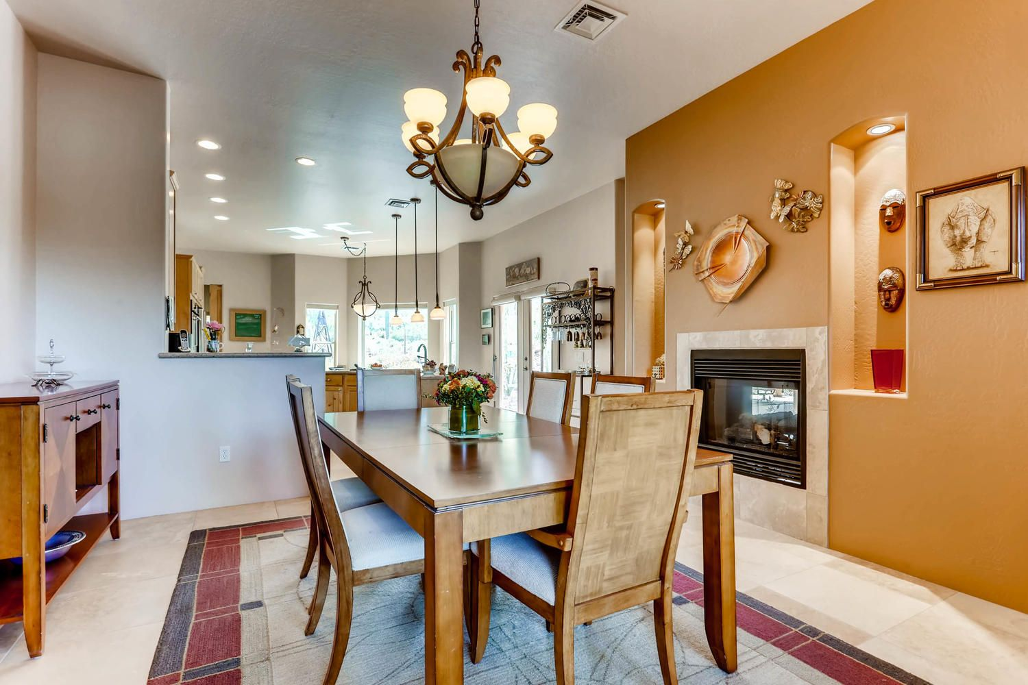 breakfast room has a two way fireplace that is shared with the