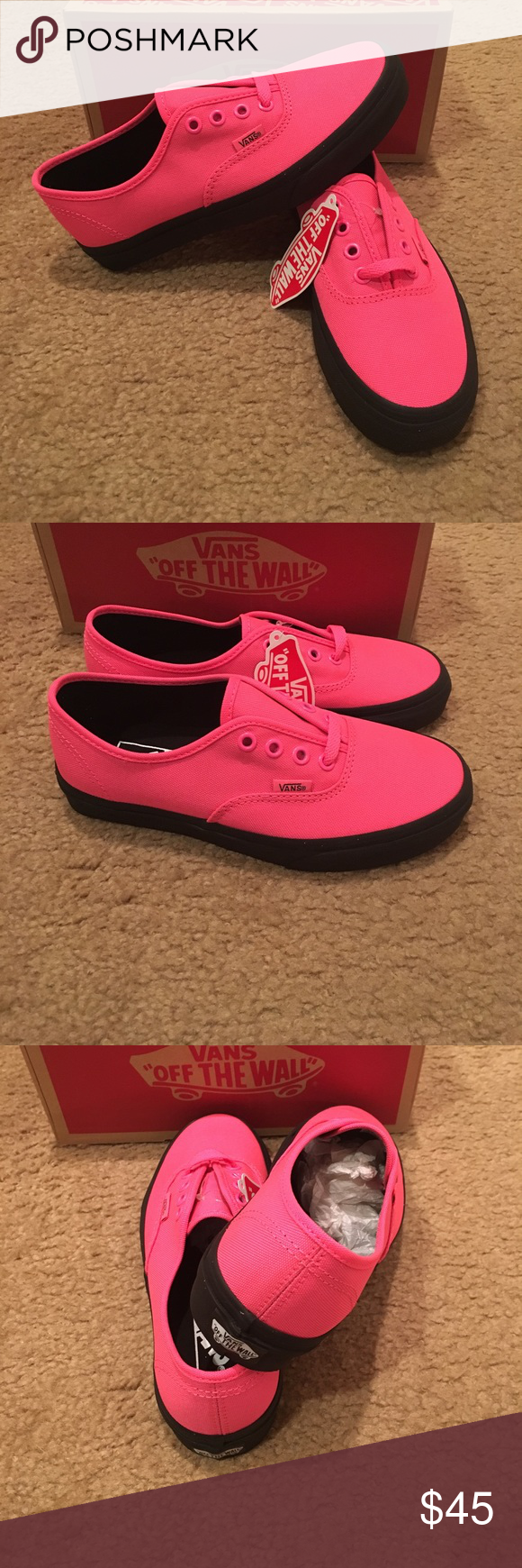 9fb6937f76 Authentic Black Outsole Vans New in box. Neon Pink Black Vans Shoes Sneakers